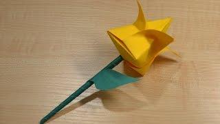 Цветок оригами из бумаги своими руками. Обучающее видео для детей. | Origami flower.(В этом видео мы с Димой научимся делать своими руками цветок из бумаги (тюльпан оригами). Эту замечательную..., 2016-02-29T22:08:11.000Z)
