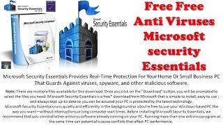 Free Free Antivirus Microsoft Security Essentials For Window 7, 8.1, 10
