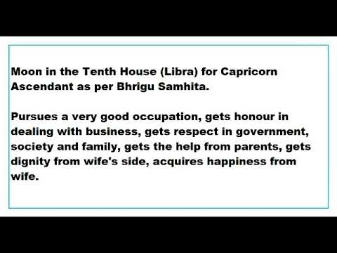 moon in 10th House for capricorn Ascendant as per Bhrigu