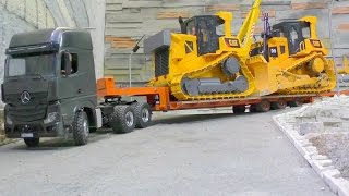 rc heavy transport two d9 r c dozer on a low loader