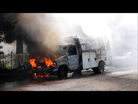 TRUCK FIRE IN CENTEREACH NEW YORK