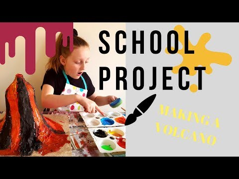 SCHOOL PROJECT - Making a Volcano with Paper Mache & Paint!