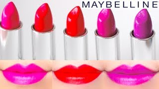 Maybelline Color Sensational Vivids Lipstick Swatches on Lips 5 colors