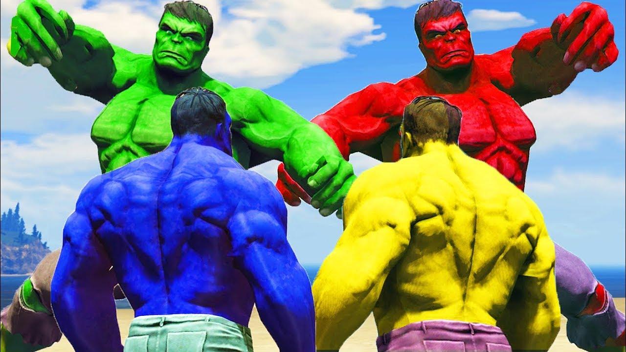 Hulk Fight   Blue Hulk vs Yellow Hulk vs Red Hulk vs Green ...