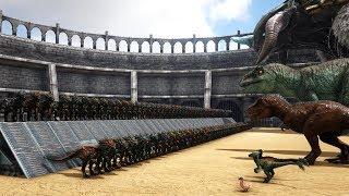 100 Velonasaurs VS ARK Dinosaurs [TURRET MODE] | Cantex