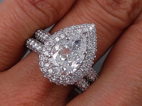 383 ctw pear shape diamond engagement ring and wedding ring set bigdiamondsusa - Pear Shaped Wedding Ring Sets