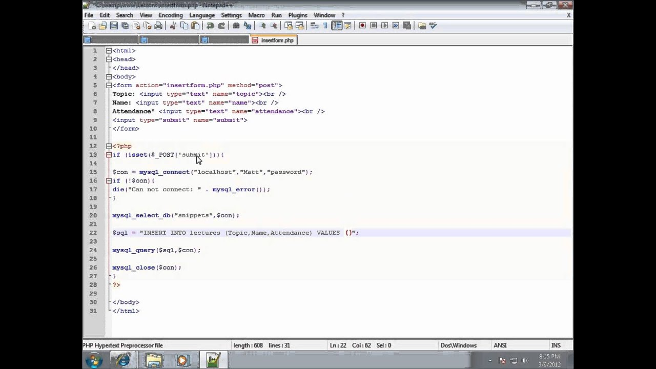 PHP Lesson 35 - Inserting Form Data into MySQL using PHP - YouTube