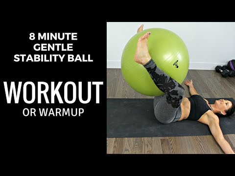 BEGINNER STABILITY BALL WORKOUT OR WARM UP 8 MINUTES