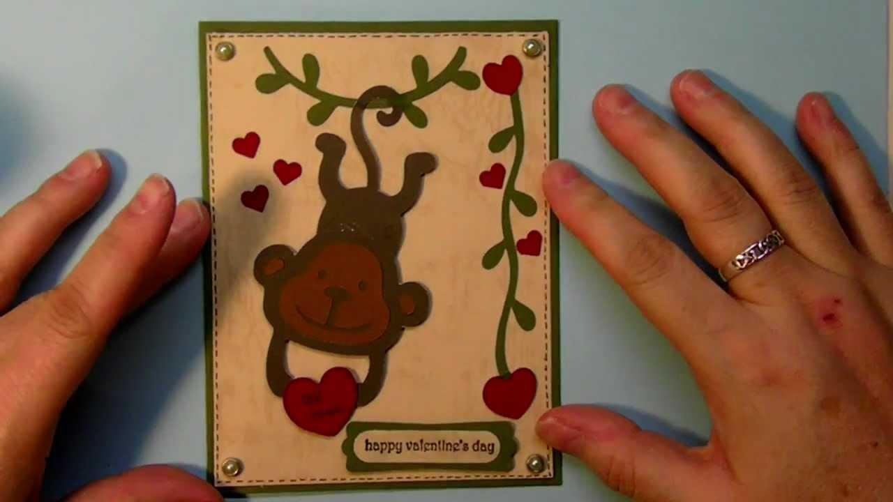 Cricut Create A Critter 2 series Valentine monkey Be Mine card 6 – Cricut Valentines Cards