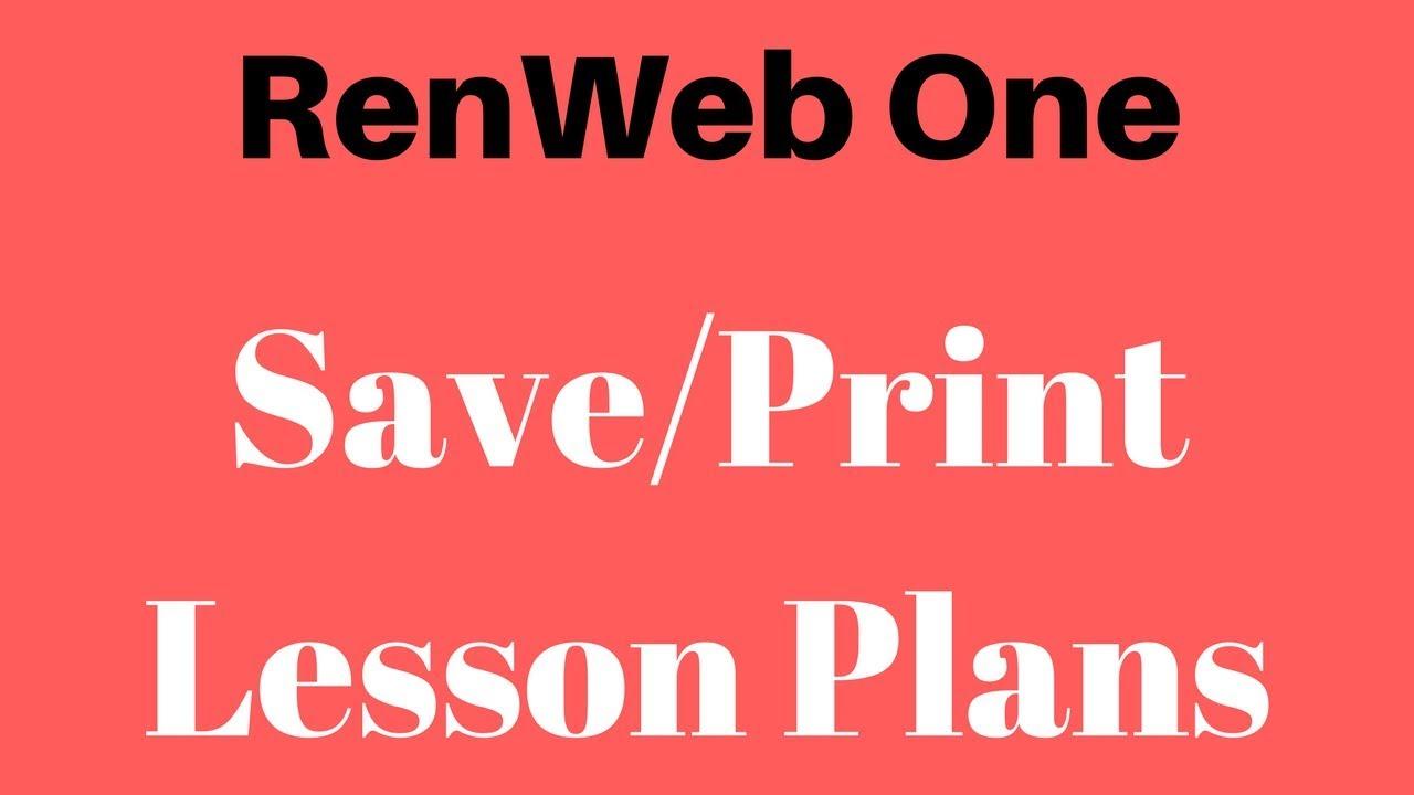RenWeb 1 - Saving/Printing Past Lesson Plans/Homework/Curriculum ...