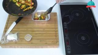 Овощное соте с салатной мацареллой