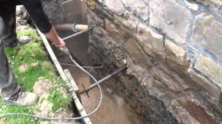 Außenwandsanierung, Drainage mit Pumpenschacht Einbau - Firma K.Timreck - Hagen