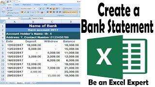 How to create a Bank Statement via Excel || মাত্র ৪মিনিটে ব্যাংক স্টেট্মেন্ট তৈরী করা শিখুন