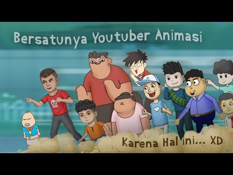 kartun-lucu---youtuber-animasi-bersatu!-ft-animasi-nopal,-cute-girl,-dalang-pelo