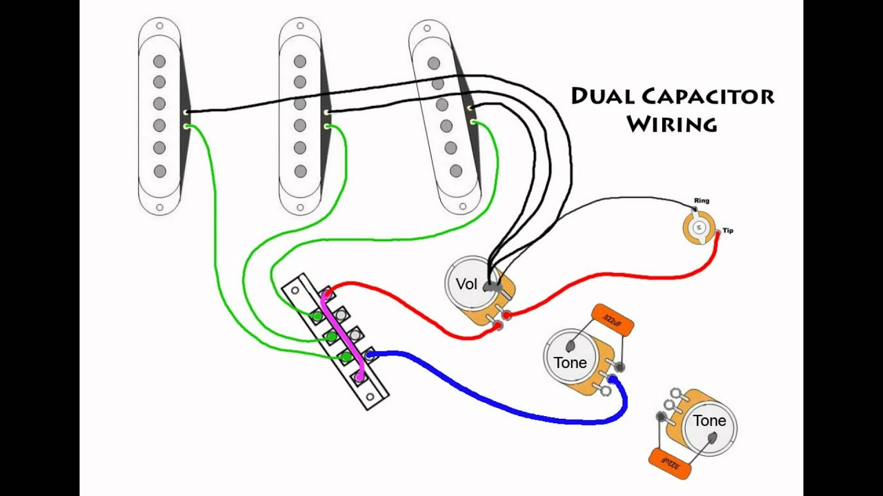 lefty strat wiring diagram strat wiring diagram 1968 stratocaster mod wiring - dual capacitors - youtube