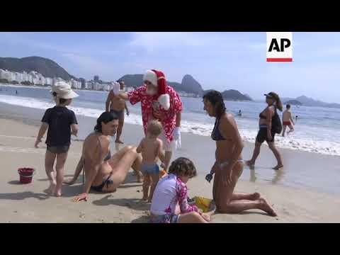Surfing Santa fits the bill in Rio de Janeiro