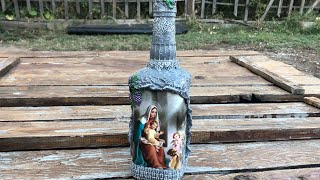 DIY: How to make Chistmas gift with decoupage Icon on a whiskey bottle TUTORIAL