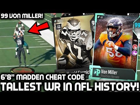 TALLEST RECEIVER IN NFL HISTORY! 99 VON MILLER! Madden 18 Ultimate Team