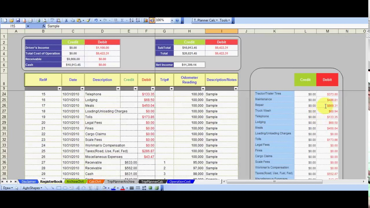 Trucking Owner Operator, Easy Bookkeeping V#3