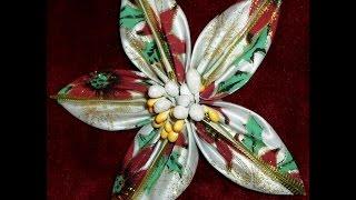 Рождественская Звезда, цветок  канзаши, от Наталии Кухта)(, 2015-12-18T18:03:38.000Z)