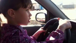 Первое вождение. Любимая доча. 7 лет