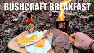 Campfire Cooking - Bushcraft Breakfast - Steak & Eggs