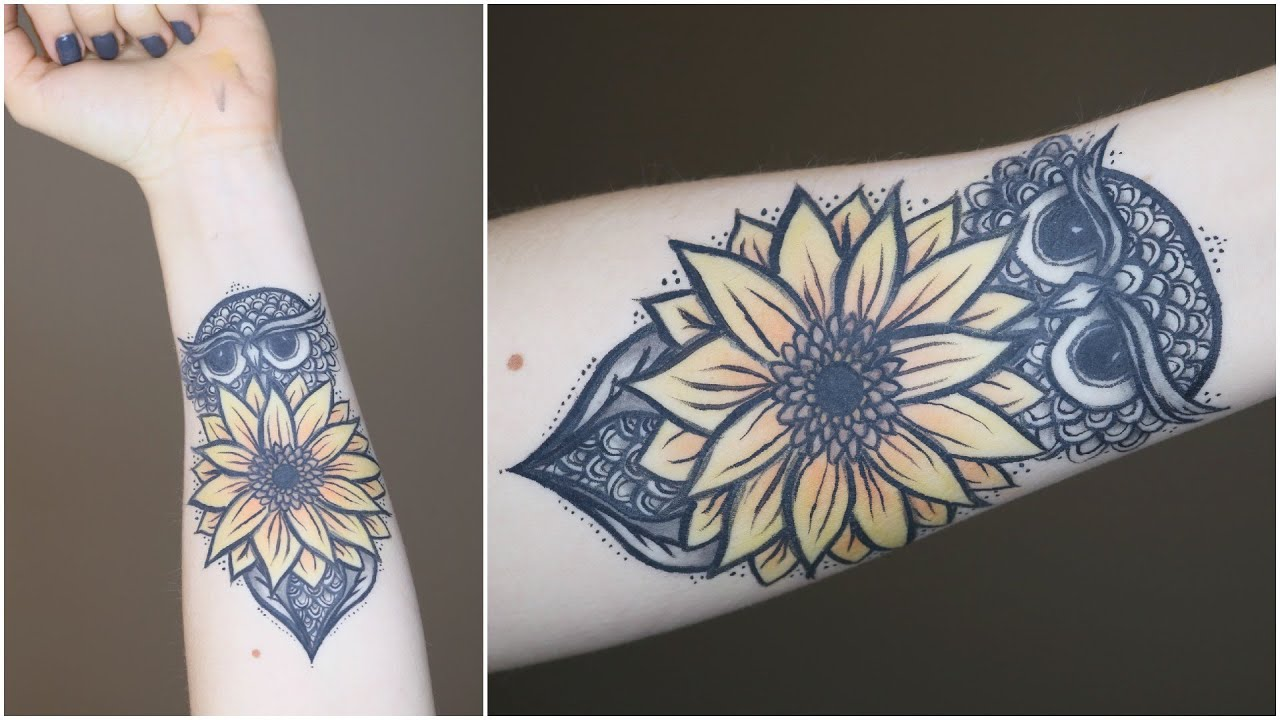 How to fake tattoo w makeup owl sunflower youtube for Sunflower temporary tattoo