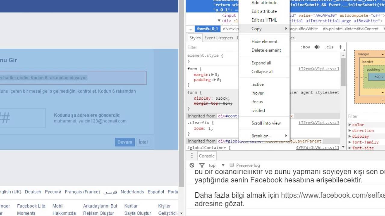 facebook da hesap hackleme