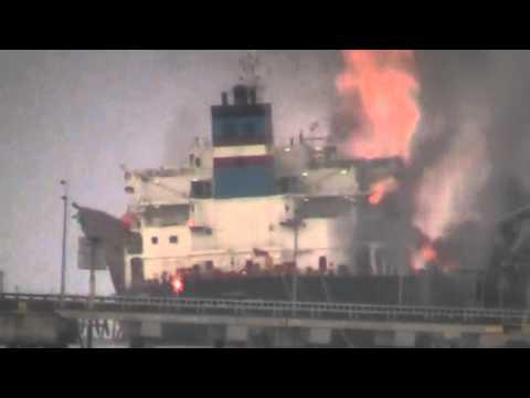 Kapal Tanker Bunga Alpinia MISC Meletup/Terbakar Di Labuan 26/07/2012