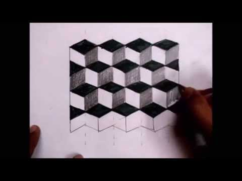 3D Cube Illusion Drawing (Easy) - YouTube
