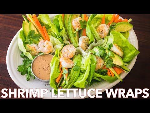 Low Carb Shrimp Lettuce Wraps with Peanut Sauce Salad Dressing