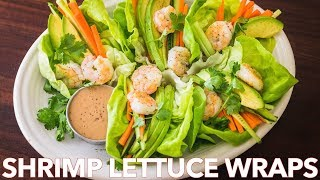 Low Carb Shrimp Lettuce Wraps with Peanut Sauce Salad Dressing