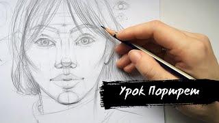 Как научиться рисовать портрет. Основы рисунка. Видеоурок для начинающих.