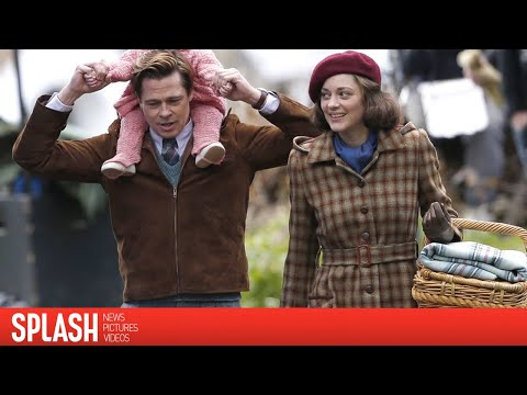 Brad Pitt and Marion Cotillard: See them on Set for their WWII Film! | Splash News TV