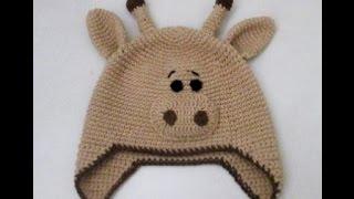 Вязание крючком. Шапка жираф для ребенка