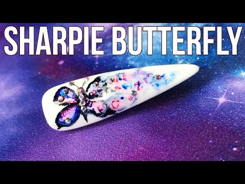 Sharpie Butterfly Nail Art Design Summer