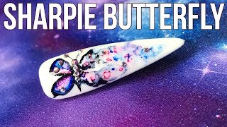 Sharpie Butterfly Nail Art Design - Blingy Summer Accent Nail