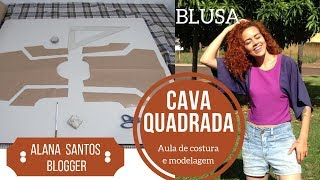 Aula de costura blusa cava quadrada com retalhos de tecido Alana Santos Blogger