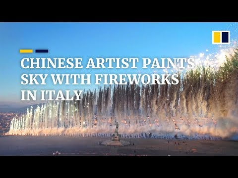 Chinese artist Cai Guoqiang paints the sky with fireworks in Florence