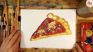 Как нарисовать ПИЦЦУ / урок рисования красками для детей