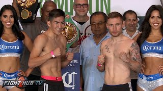 Leo Santa Cruz vs. Carl Frampton COMPLETE Weigh In & Face Off Video