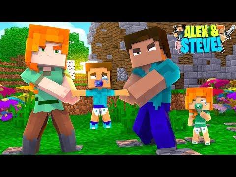 ALEX STEALS THE BABY TWINS!! Minecraft LIFE of ALEX & STEVE