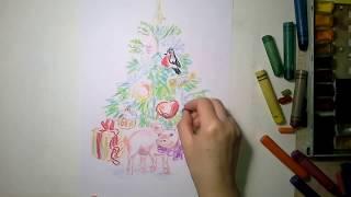СВИНКА и ЁЛКА учимся рисовать АКВАРЕЛЬЮ и ВОСКОВЫЕ МЕЛКИ. Pig and christmas tree 2019 in watercolor.