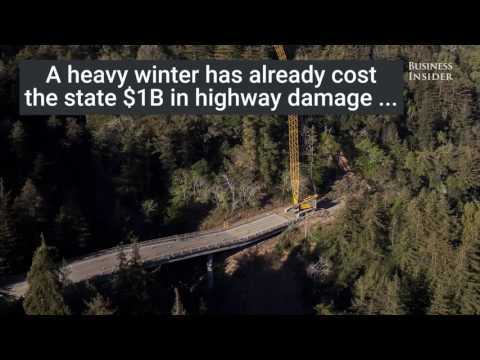 A portion of Californias Highway 1 is buried after a massive landslide