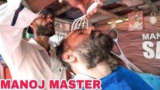 MANOJ MASTER HEAD MASSAGE AT HIS BARBERSHOP 💆 ASMR     💈WATCH FOR BETTER SLEEP💈