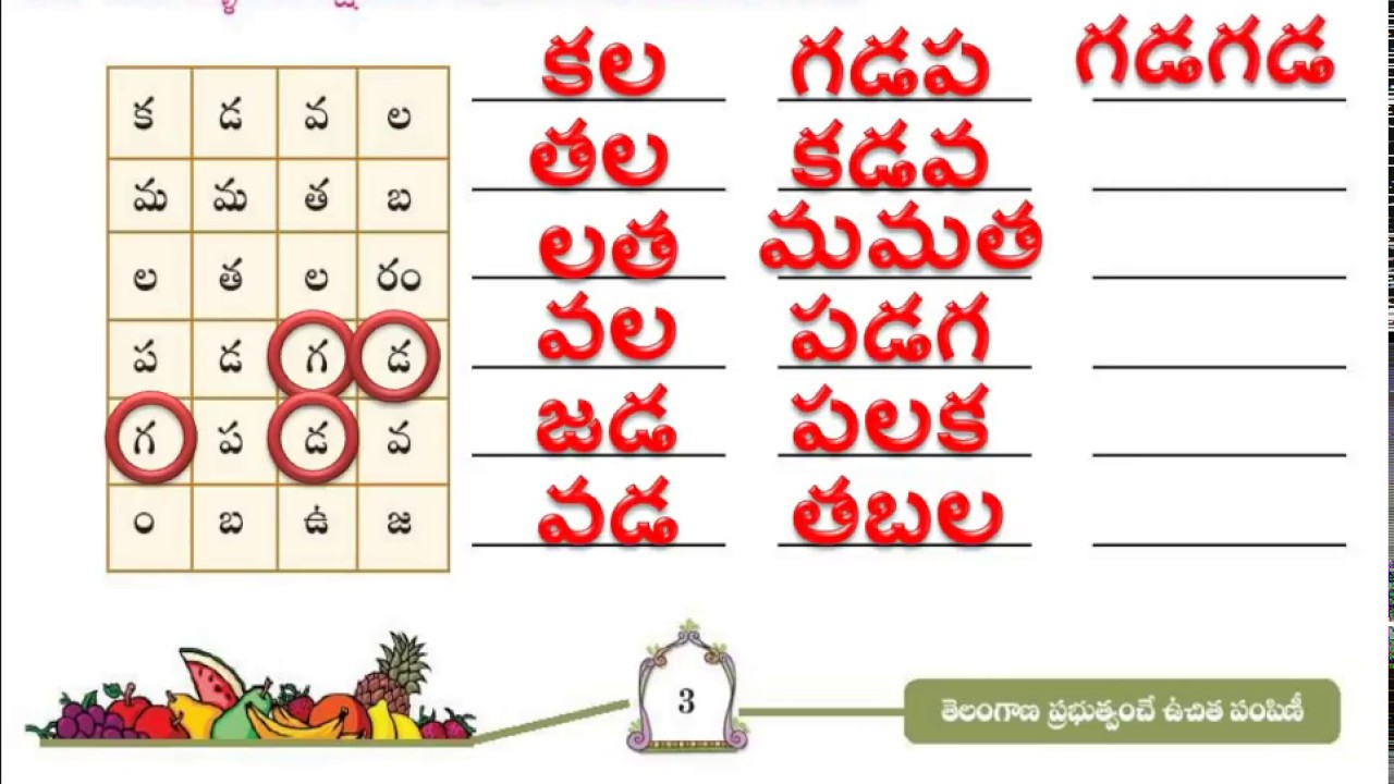 4th Class, Telugu, Page No 3, Making Telugu Words from Letters, Part 1