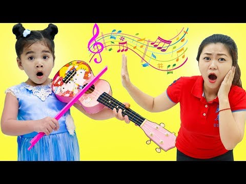 Suri & Cherry Pretend Play w/ Violin Guitar & Drums Musical Instruments Kid Toys
