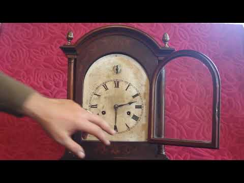 ANTIQUE GERMAN 'HAC' BRACKET 8-DAY MANTEL CLOCK WITH WESTMINSTER CHIMES