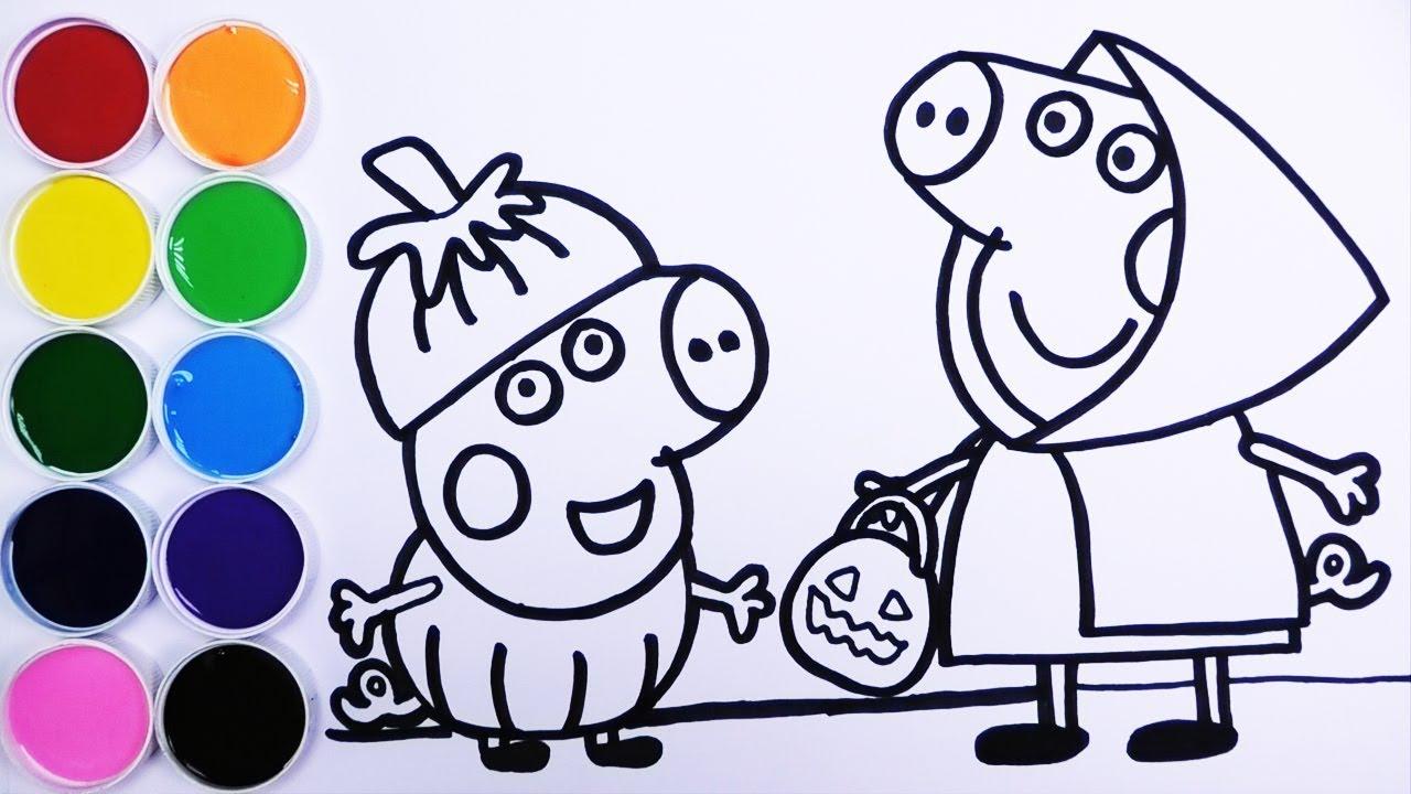 Peppa De Caperucita Roja Y George De Calabaza Halloween Dibujos