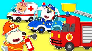 🔴Wolf family live now | Wolfoo Learns about Jobs for Kids with Police Car, Ambulance, Fire Truck